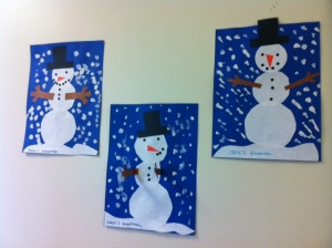 Cute snowmen pictures that my students made :)