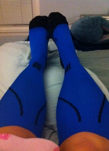 nifty compression socks. They are, of course, blue